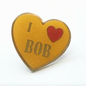 Vintage I Love Heart Bob Yellow Lapel Hat Pin